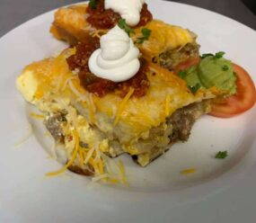 egg casserole with onion and tomato
