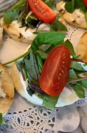 crackers with cheese, basil and tomato slices