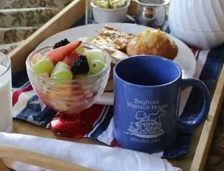 breakfast tray with coffee