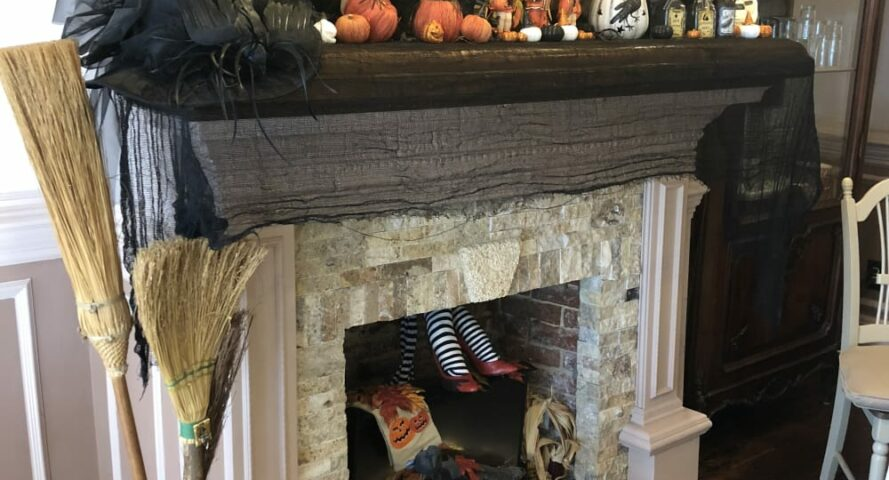 fireplace decorated for fall