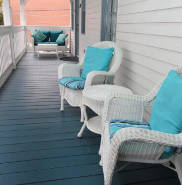 Outdoor seating area by room