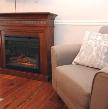 Fireplace and seating area