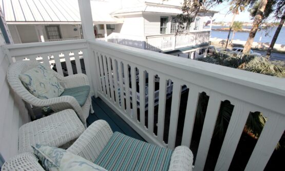 porch seating for two with bay view