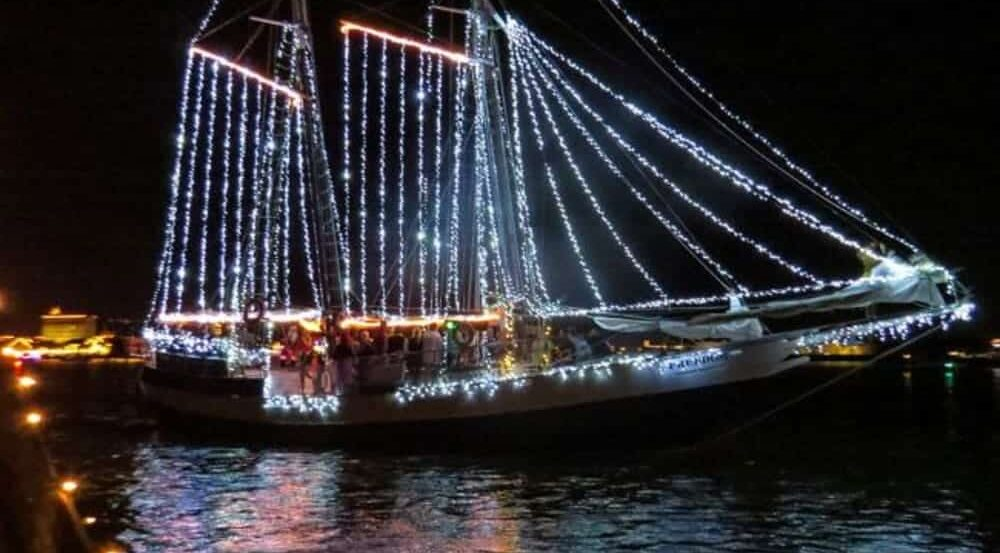 Traditional Nights of lights boat parade, Bayfront Westcott House